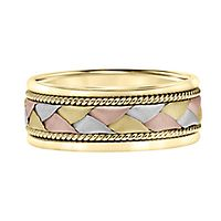 Men's Braided Tricolor Band in 14K Gold, 8MM