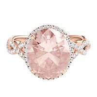 Morganite & 3/8 ct. tw. Diamond Oval Ring in 14K Rose Gold