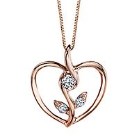 Sirena® 1/8 ct. tw. Diamond Heart Rose Pendant in 10K Rose Gold