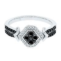 3/8 ct. tw. Black & White Diamond Ring in 10K White Gold