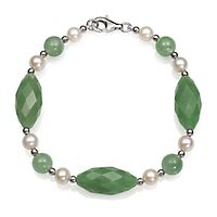 Jade & Freshwater Cultured Pearl Bracelet in Sterling Silver