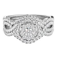 1 1/4 ct. tw. Multi-Diamond Round Center Engagement Ring Set in 14K White Gold