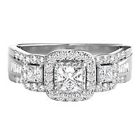 1 ct. tw. Diamond Three-Stone Ring in 14K White Gold