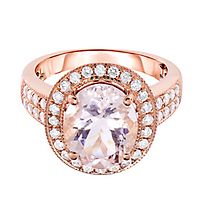 Morganite & 1/2 ct. tw. Diamond Halo Ring in 18K Rose Gold