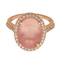 Pink Quartz & Lab-Created White Sapphire Halo Ring in 18K Rose Gold over Sterling Silver