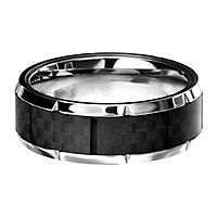Men's Band in Stainless Steel & Carbon Fiber, 8MM