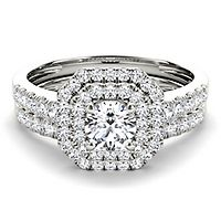 1 ct. tw. Diamond Double Halo Engagement Ring Set in 14K White Gold