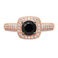 1 1/2 ct. tw. Black & White Diamond Halo Engagement Ring in 10K Rose Gold