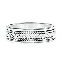 Men's Woven Band in 14K White Gold, 7MM