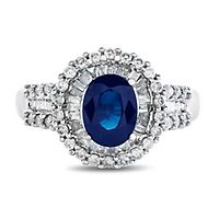 Blue Sapphire & 3/4 ct. tw. Diamond Ring in 14K White Gold