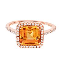 Citrine & 1/4 ct. tw. Diamond Ring in 14K Rose Gold