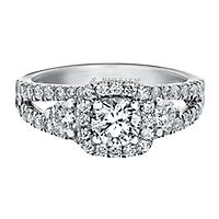 Maple Leaf Diamonds™ 1 5/8 ct. tw. Diamond Halo Engagement Ring in 18K White Gold