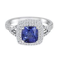 Tanzanite & 1/3 ct. tw. Diamond Ring in 14K White Gold