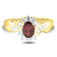 Garnet & Lab-Created White Sapphire Ring in 10K Yellow Gold
