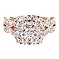 My Diamond Story® 1 1/7 ct. tw. Diamond Halo Engagement Ring in 14K Rose Gold
