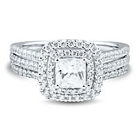 1 1/4 ct. tw. Diamond Double Halo Engagement Ring in 14K White Gold