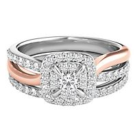 5/8 ct. tw. Diamond Halo Engagement Ring Set in 10K White & Rose Gold