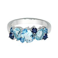 Blue Topaz, Lab-Created Blue Sapphire & Blue Spinel Ring in Sterling Silver
