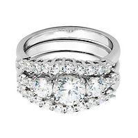 Diamonvita® Three-Stone Engagement Ring Set in Sterling Silver