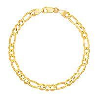 Diamond Cut Figaro Chain Bracelet in 10K Yellow Gold