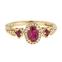 Ruby & 1/10 ct. tw. Diamond Ring in 10K Yellow Gold