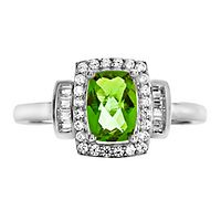 Peridot & Lab-Created White Sapphire Ring in Sterling Silver