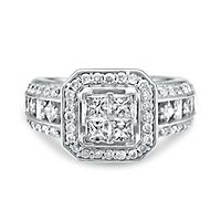 1 ct. tw. Multi-Diamond Square Shaped Center Halo Engagement Ring in 14K White Gold