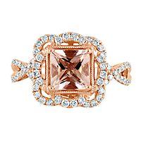 TRULY™ Zac Posen Morganite & 5/8 ct. tw. Diamond Engagement Ring in 14K Rose Gold