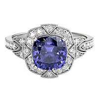 TRULY™ Zac Posen Tanzanite & 1/4 ct. tw. Diamond Engagement Ring in 14K White Gold