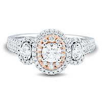 1 ct. tw. Diamond Three-Stone Ring in 14K White & Rose Gold
