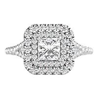 Helzberg Limited Edition® 1 ct. tw. Diamond Halo Engagement Ring in 14K White Gold