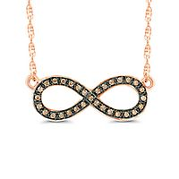 1/10 ct. tw. Champagne Diamond Infinity Pendant in 10K Rose Gold