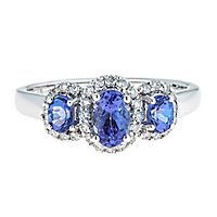 Tanzanite & 1/4 ct. tw. Diamond Three-Stone Ring in 10K White Gold