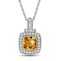 Citrine & Lab-Created White Sapphire Pendant in Sterling Silver