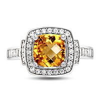 Citrine & Lab-Created White Sapphire Ring in Sterling Silver