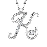 The Beat of Your Heart® Lab-Created White Sapphire K Initial Pendant in Sterling Silver
