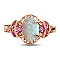 Opal, Ruby & 1/5 ct. tw. Diamond Ring in 10K Rose Gold