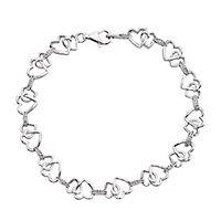 Diamond Heart Bracelet in Sterling Silver