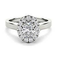 3/4 ct. tw. Diamond Oval Halo Engagement Ring in 14K White Gold