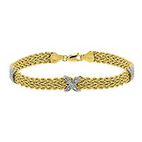 Diamond X Rope Bracelet in 14K Yellow Gold