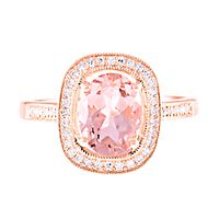 Morganite & 1/7 ct. tw. Diamond Ring in 14K Rose Gold