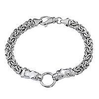 Simulated Diamond Panther Byzantine Bracelet in Sterling Silver