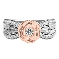 Enchanted Disney 1/4 ct. tw. Diamond Belle Rose Ring in Sterling Silver & 10K Rose Gold