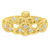 Roberto Martinez White Topaz Heart Tiara Ring in 14K Yellow Gold