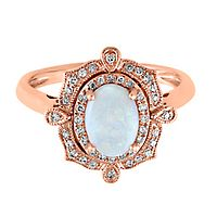 EFFY® Opal & 1/7 ct. tw. Diamond Ring in 14K Rose Gold