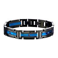Men's Simulated Diamond Bracelet in Stainless Steel
