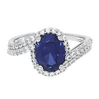 Lab-Created Blue & White Sapphire Ring in Sterling Silver