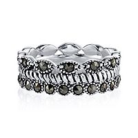 Marcasite Layered Faux Stack Ring in Sterling Silver