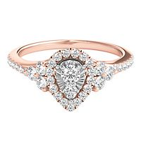 1/2 ct. tw. Diamond Pear Shaped Engagement Ring in 10K White & Rose Gold