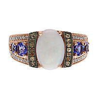 EFFY® Opal, Tanzanite, 1/5 ct. tw. Champagne & White Diamond Ring in 14K Rose Gold